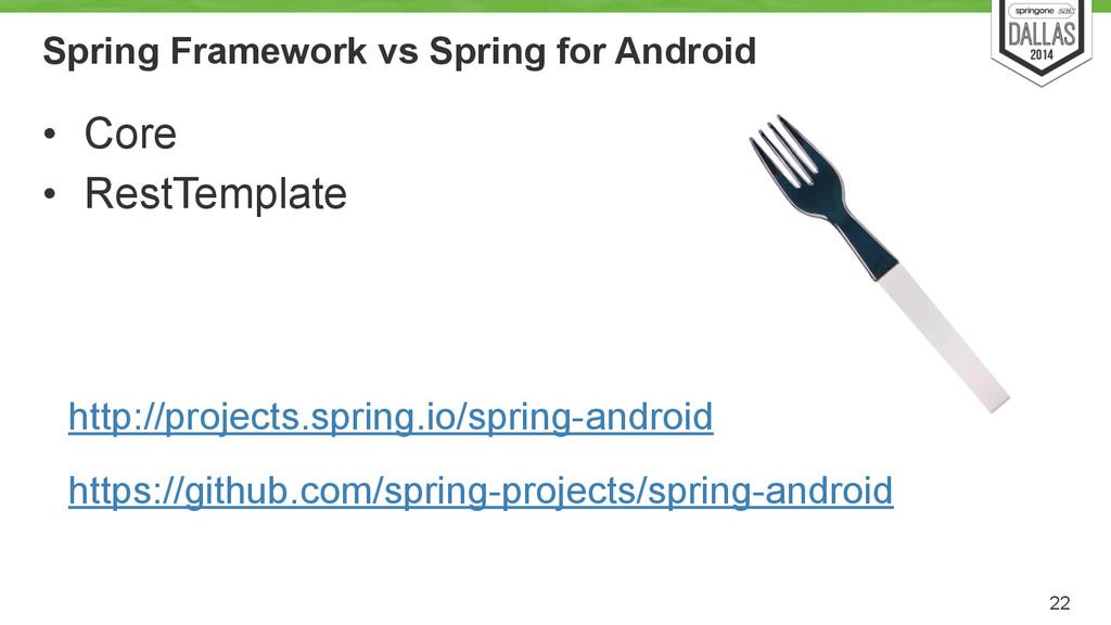Spring Framework vs Spring for Android • Core •...