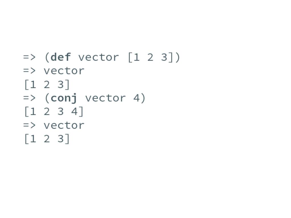 => (def vector [1 2 3]) => vector [1 2 3] => (c...