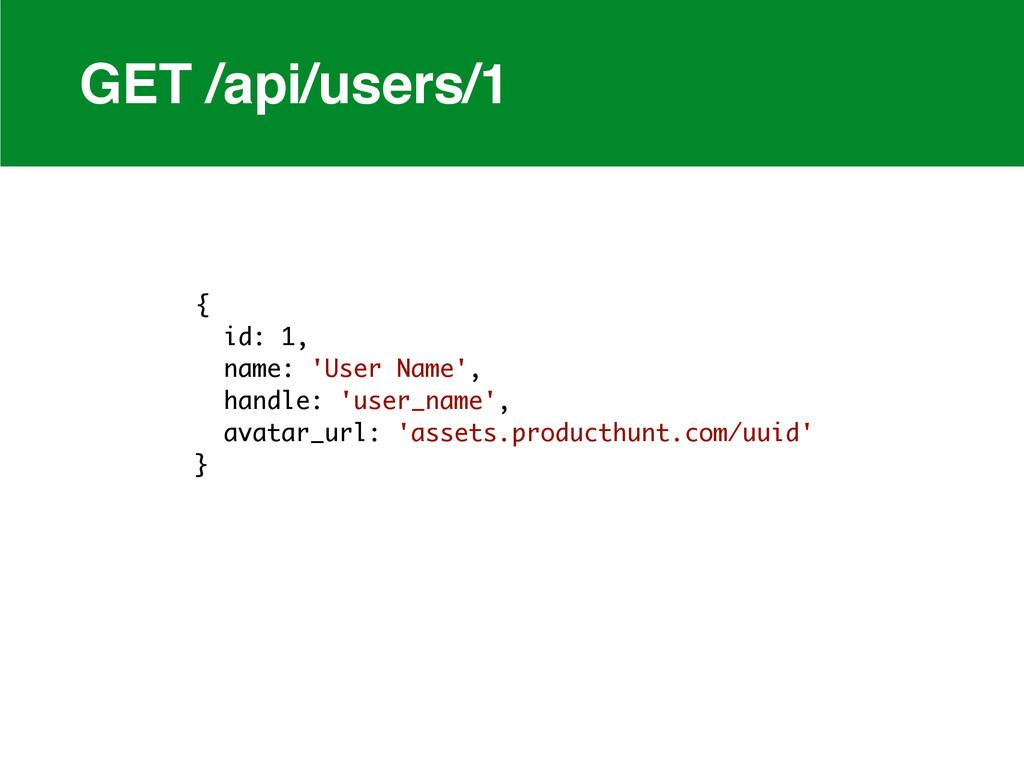 GET /api/users/1 { id: 1, name: 'User Name', ha...