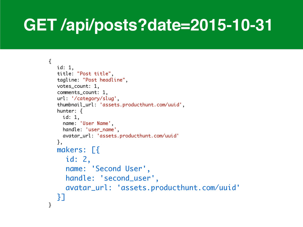 GET /api/posts?date=2015-10-31 { id: 1, title: ...