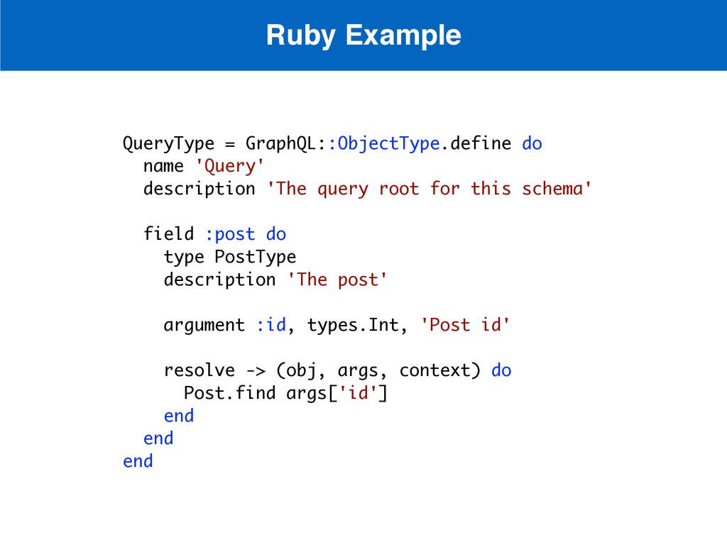 QueryType = GraphQL::ObjectType.define do name ...