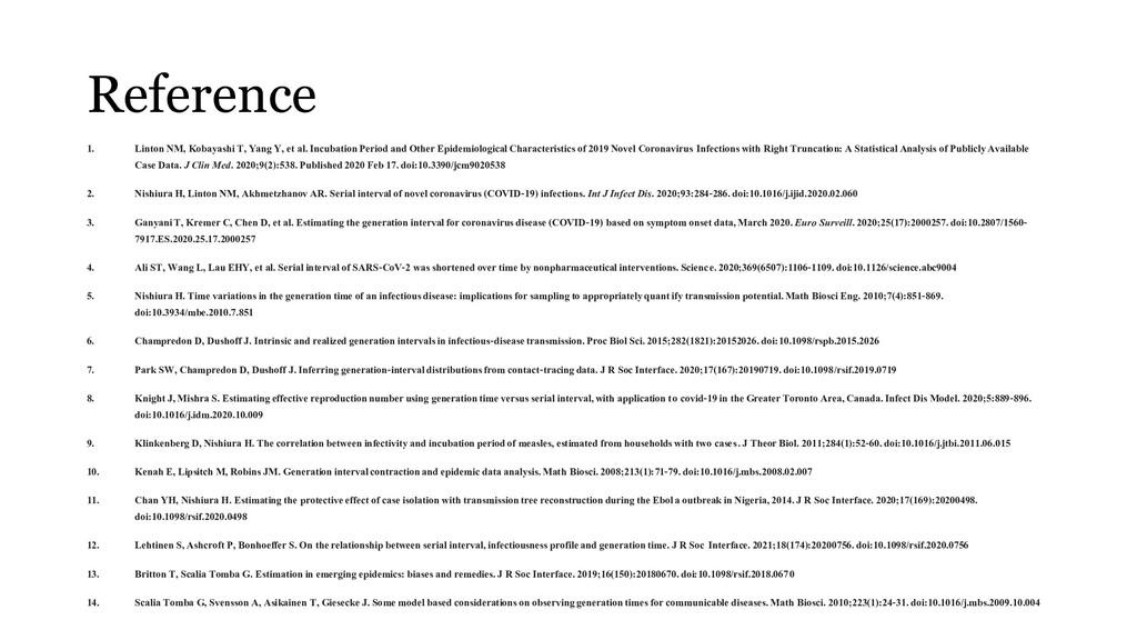 Reference 1. Linton NM, Kobayashi T, Yang Y, et...