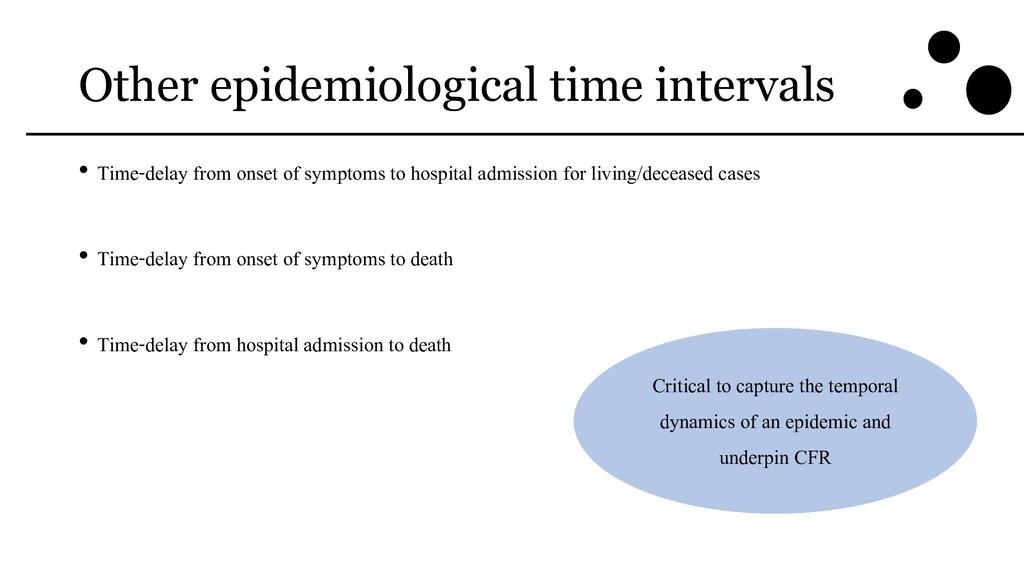 Other epidemiological time intervals • Time-del...