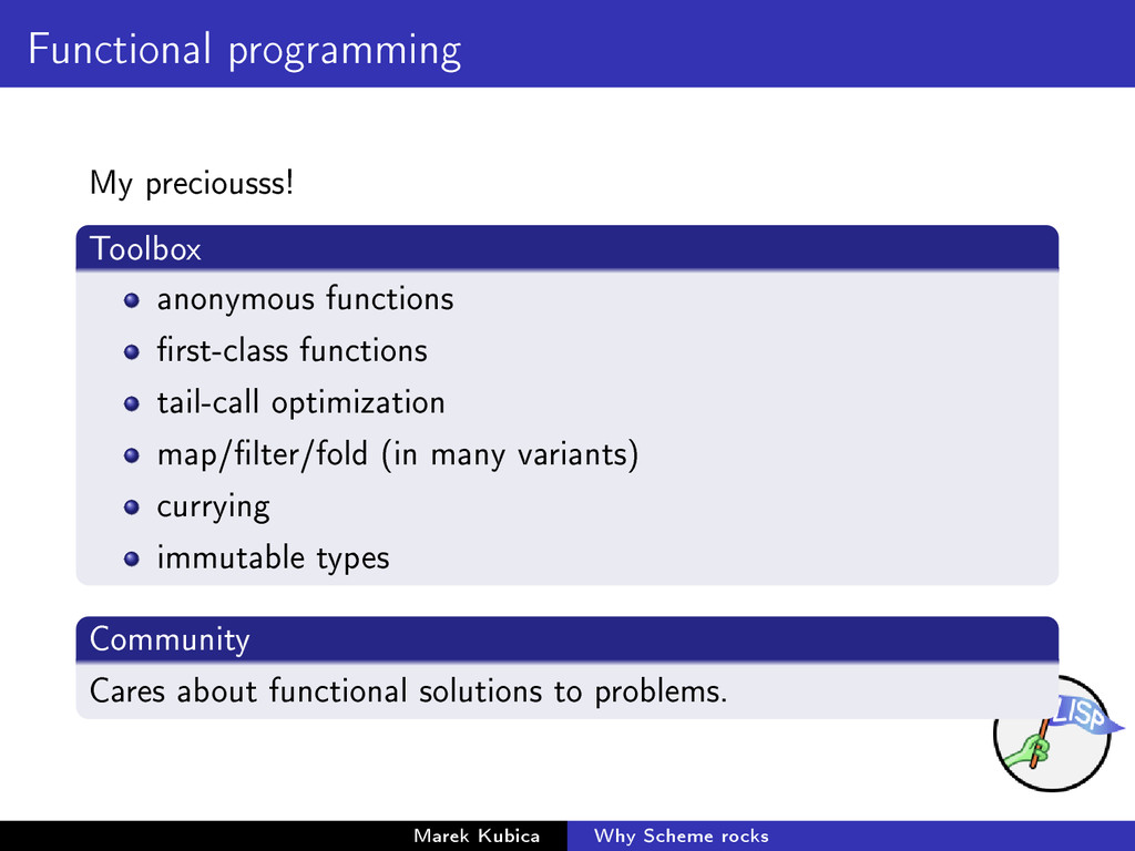 Functional programming My preciousss! Toolbox a...
