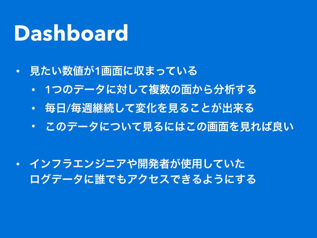 Dashboard • ݟ͍͕ͨ1ը໘ʹऩ·͍ͬͯΔ • 1ͭͷσʔλʹରͯ͠ෳͷ໘͔Β...