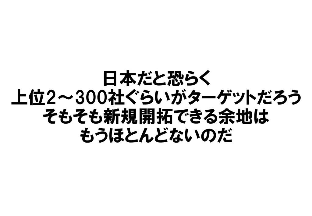 日本だと恐らく 上位2~300社ぐらいがターゲットだろう そもそも新規開拓できる余地は もうほ...