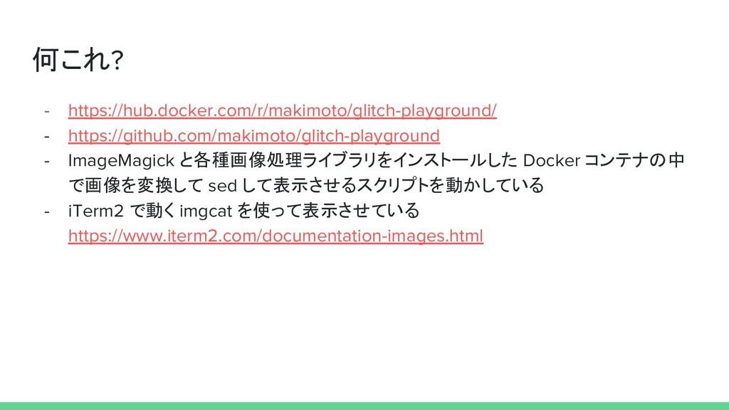 何これ? - https://hub.docker.com/r/makimoto/glitch...