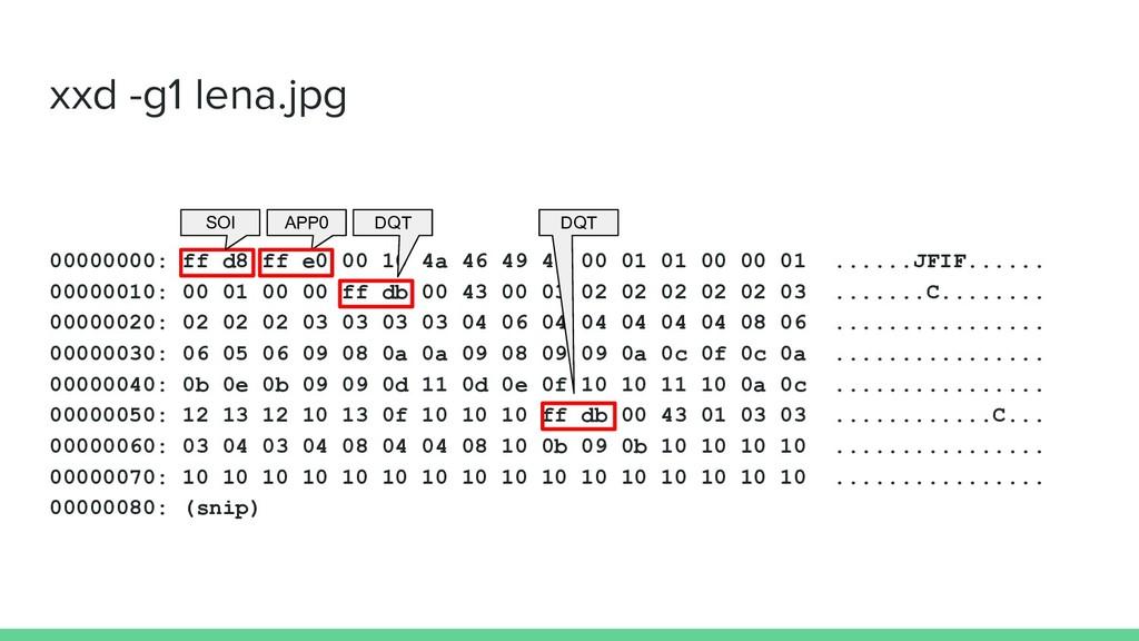 xxd -g1 lena.jpg 00000000: ff d8 ff e0 00 10 4a...