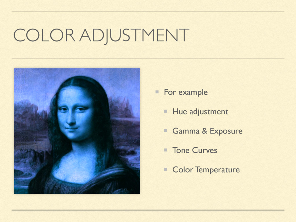 COLOR ADJUSTMENT For example Hue adjustment Gam...