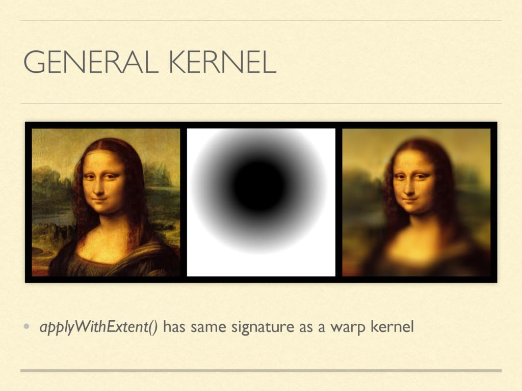GENERAL KERNEL • applyWithExtent() has same sig...