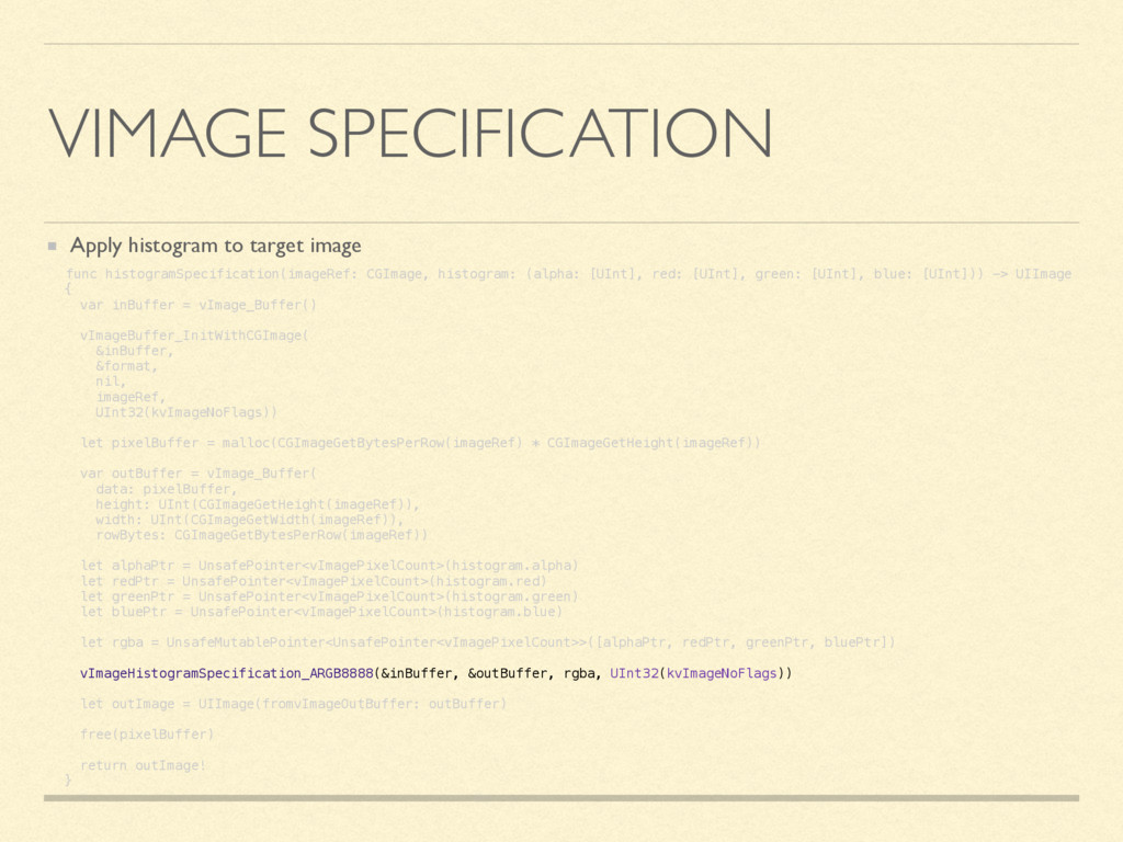 VIMAGE SPECIFICATION Apply histogram to target ...
