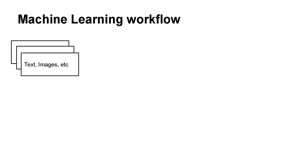 Machine Learning workflow Text, Images, etc