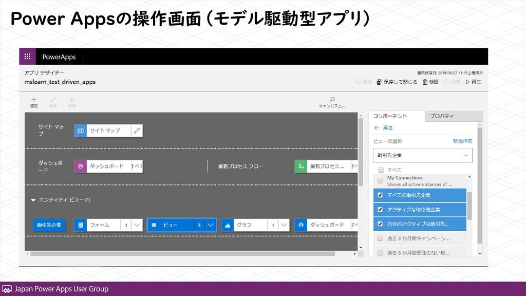 Power Appsの操作画面(モデル駆動型アプリ)