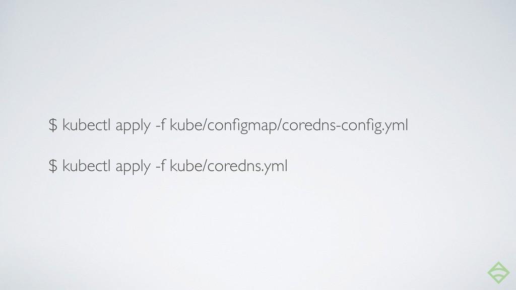 $ kubectl apply -f kube/configmap/coredns-config....