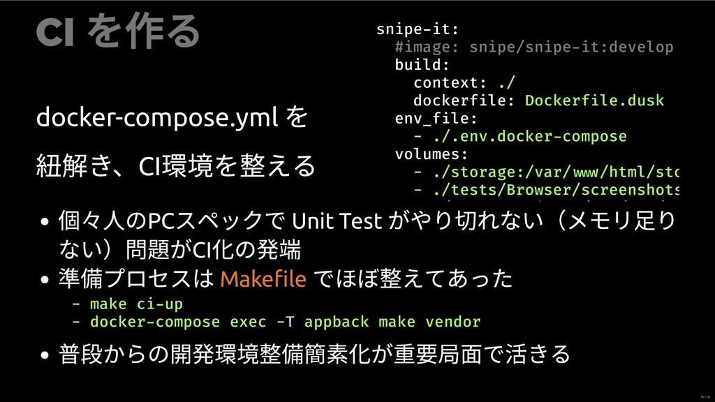 CI を作る docker-compose.yml を 紐 き、CI を える snipe i...