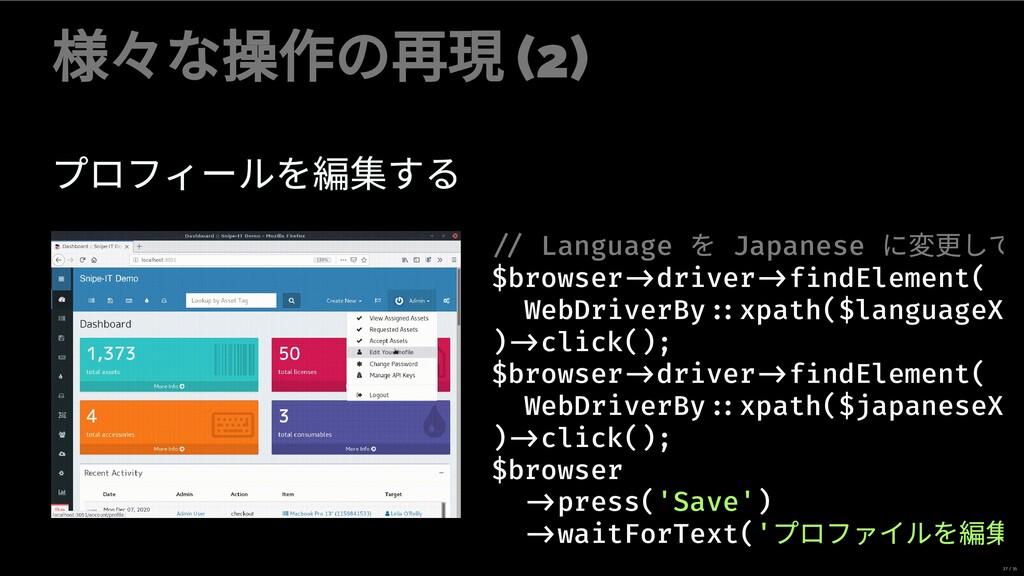 々な操作の再現 (2) プロフィールを する Admin (User Name) を clic...