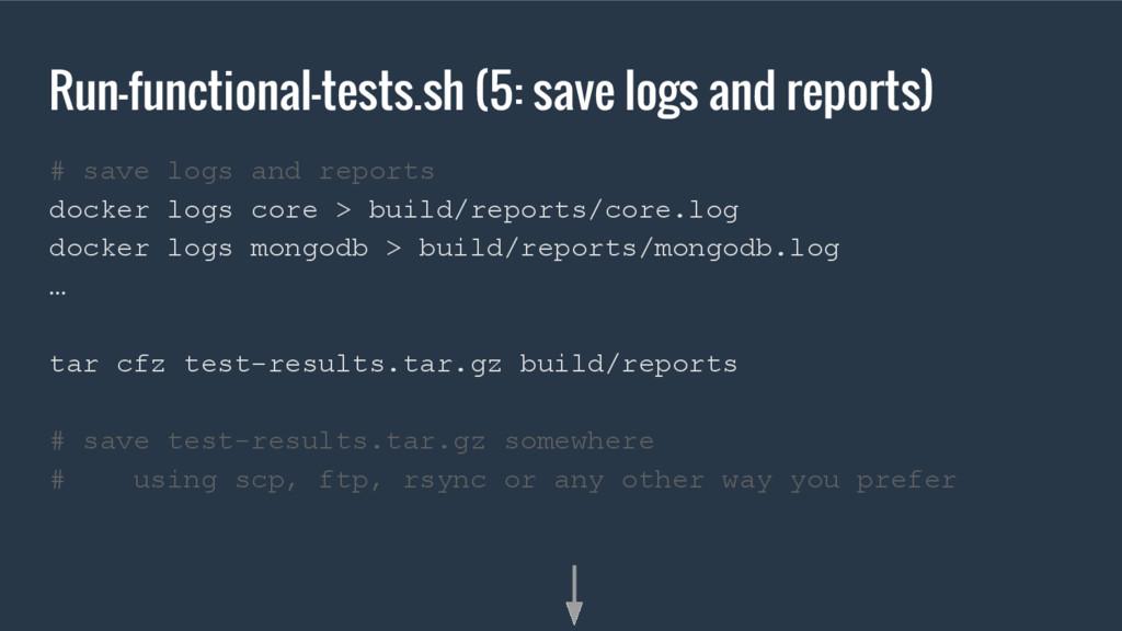 Run-functional-tests.sh (5: save logs and repor...