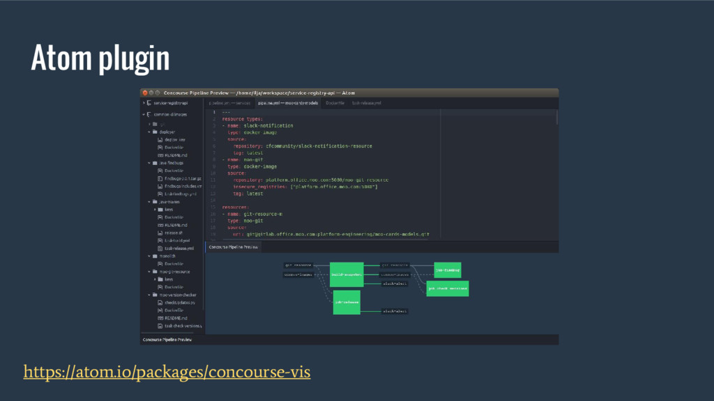 Atom plugin https://atom.io/packages/concourse-...