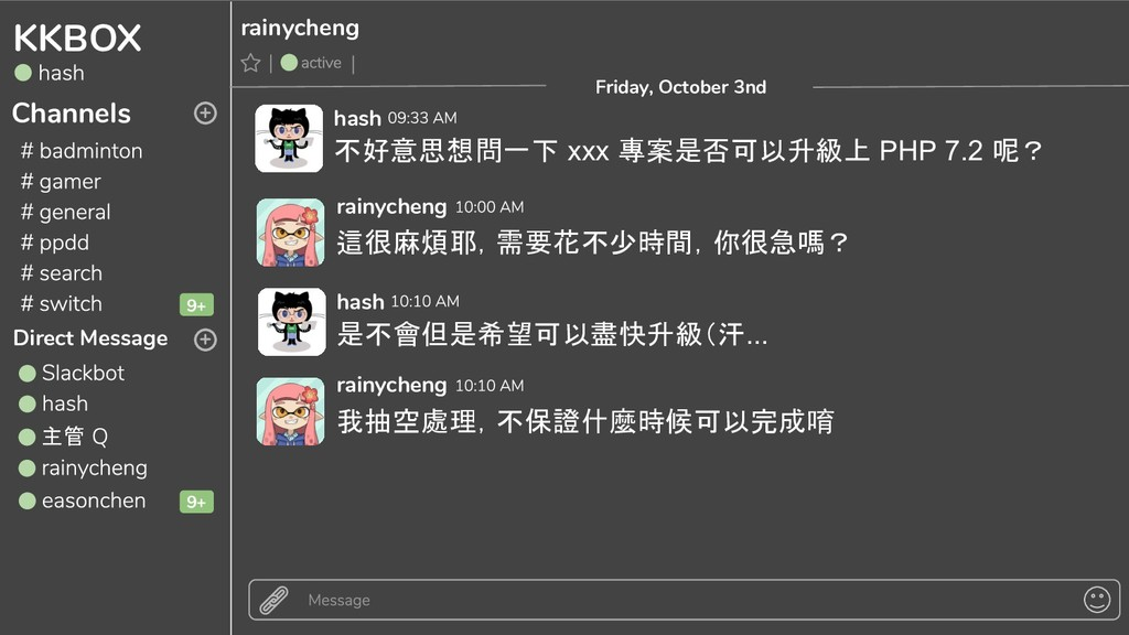 KKBOX Channels Direct Message 主管 + + Friday, Oc...