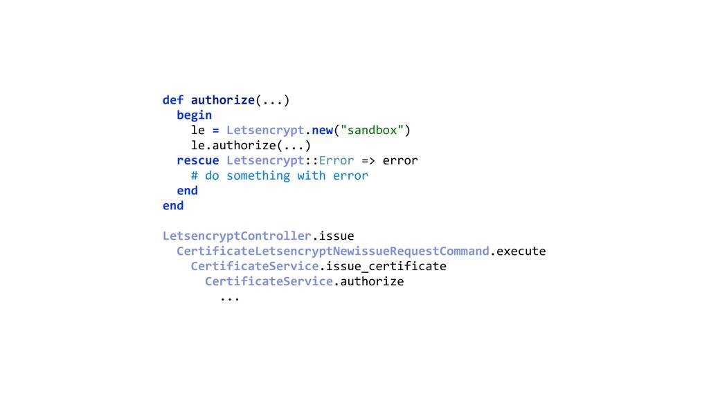 def authorize(...) begin le = Letsencrypt.new...