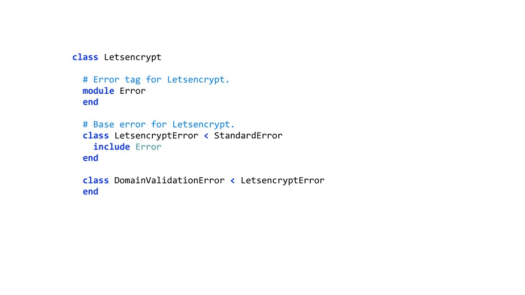 class Letsencrypt  # Error tag for Letsencryp...