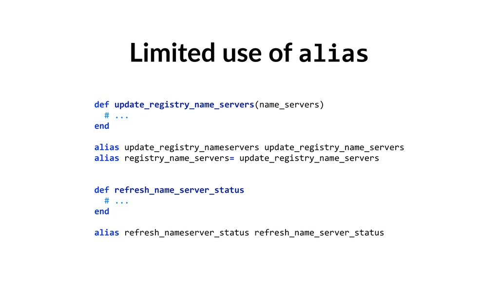 Limited use of alias def update_registry_name_s...