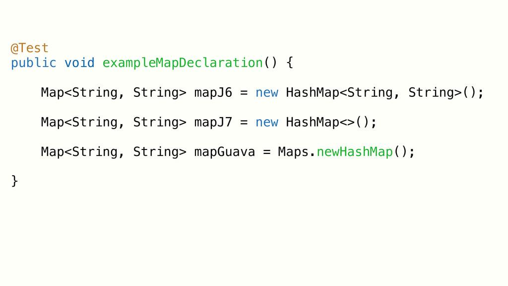 @Test public void exampleMapDeclaration() { Map...
