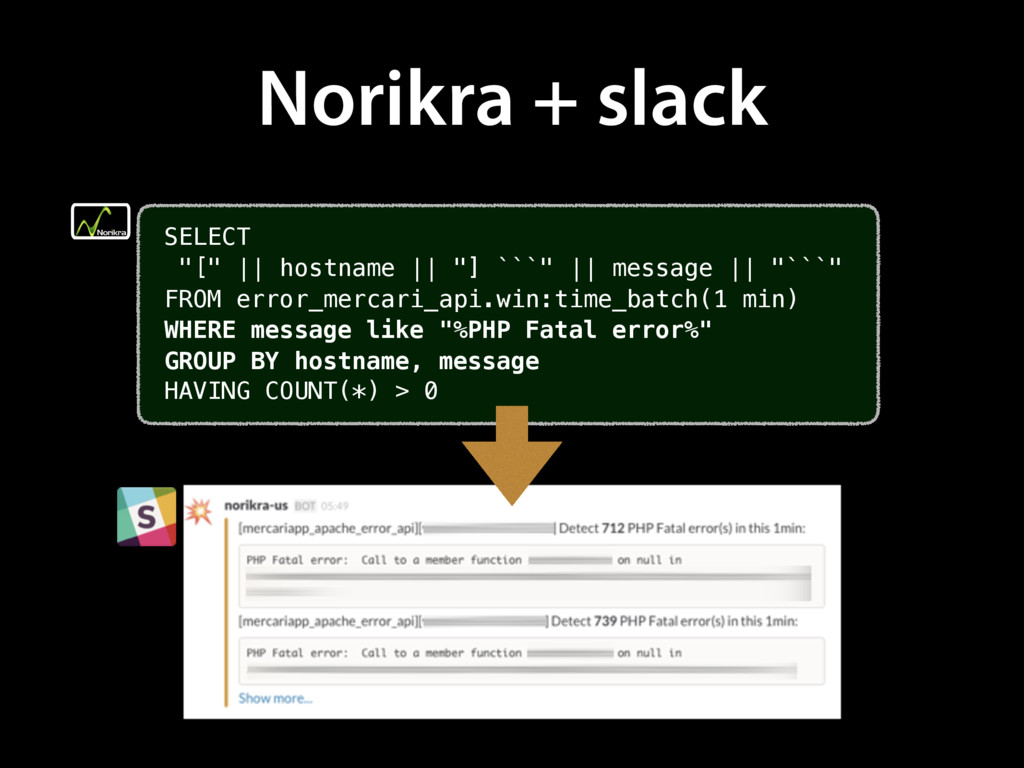 "Norikra + slack SELECT ""[""    hostname    ""] ``..."
