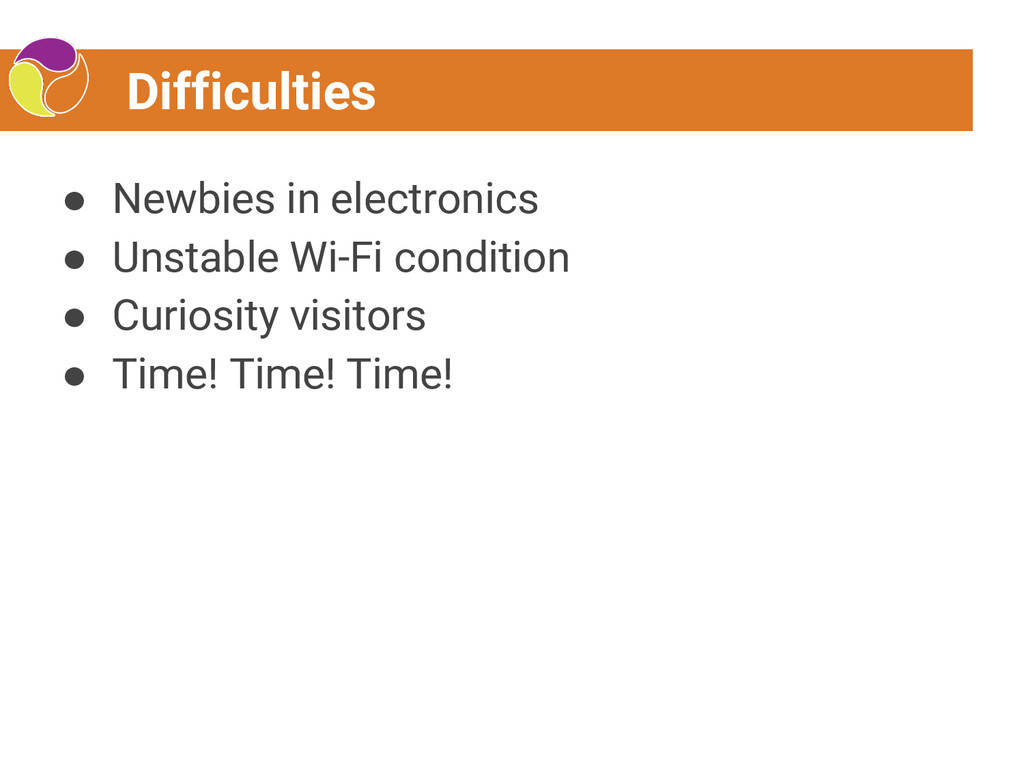 Difficulties ● Newbies in electronics ● Unstabl...