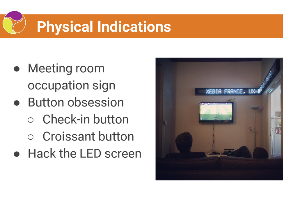 Physical Indications ● Meeting room occupation ...