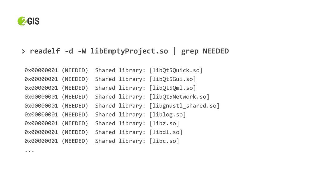 > readelf -d -W libEmptyProject.so | grep NEEDE...