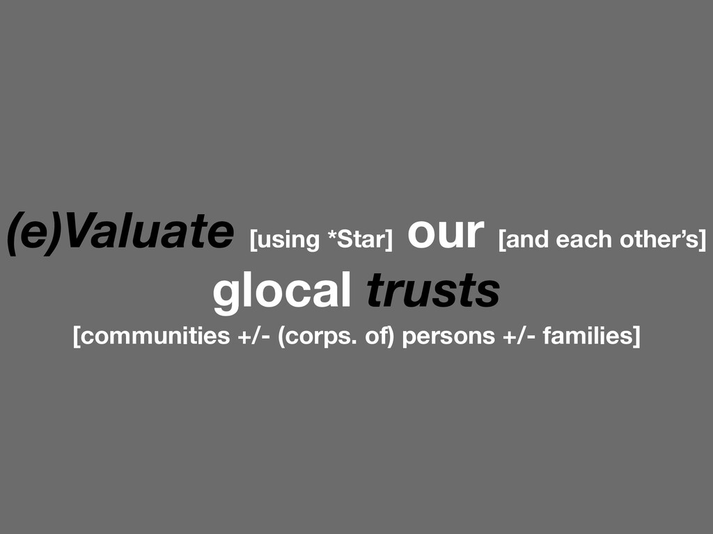 (e)Valuate [using *Star] our [and each other's]...