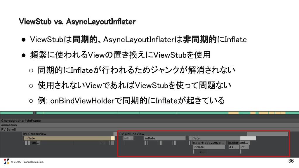 © ZOZO Technologies, Inc. 36 ViewStub vs. Async...