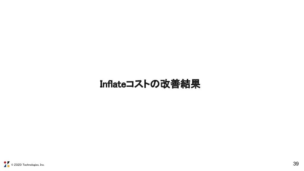 © ZOZO Technologies, Inc. Inflateコストの改善結果 39
