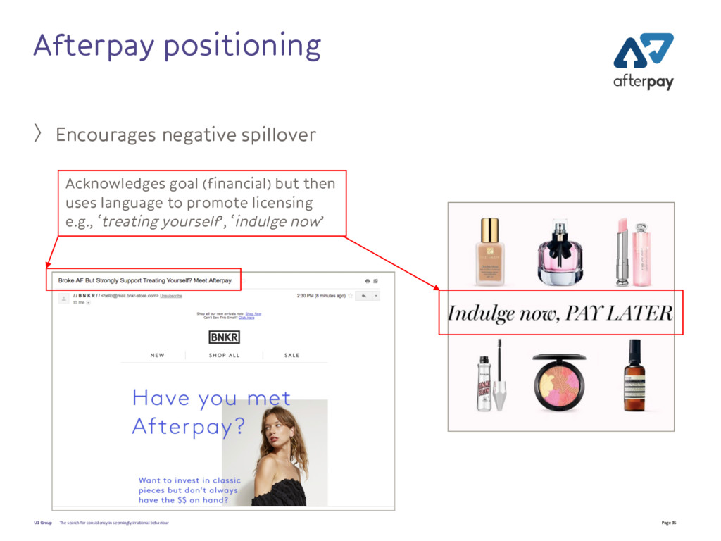 Page 35 U1 Group Afterpay positioning 〉Encourag...