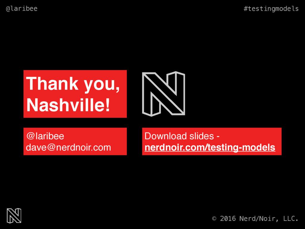 @laribee #testingmodels © 2016 Nerd/Noir, LLC. ...