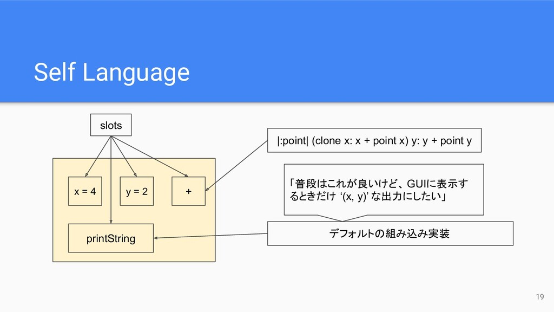 Self Language 19 x = 4 y = 2 printString + slot...