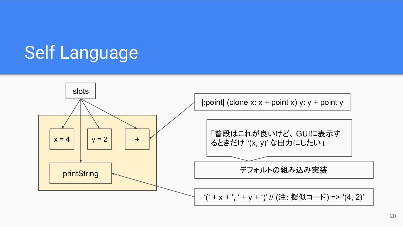 Self Language 20 x = 4 y = 2 printString + slot...