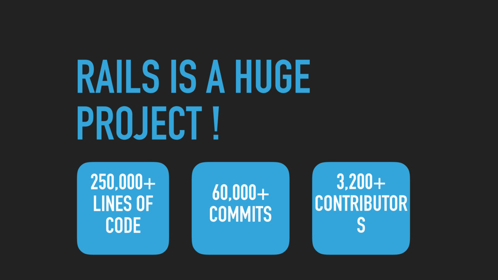 RAILS IS A HUGE PROJECT ! 250,000+ LINES OF COD...