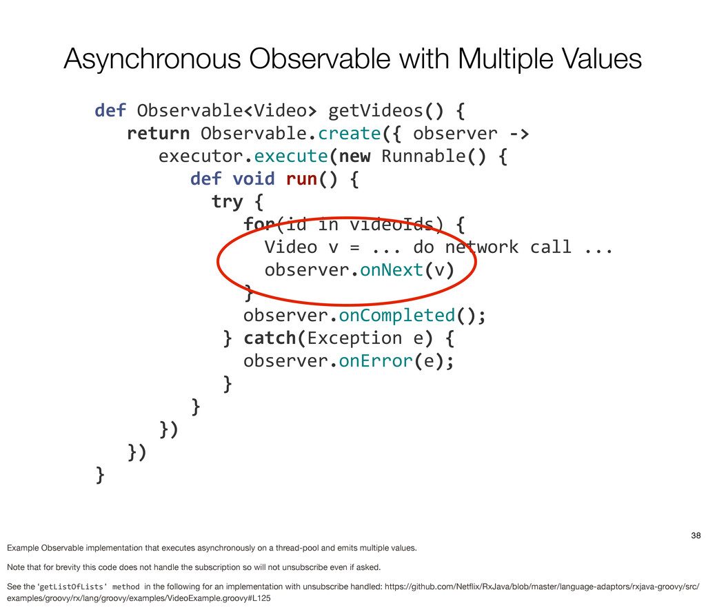 Asynchronous Observable with Multiple Values 	
