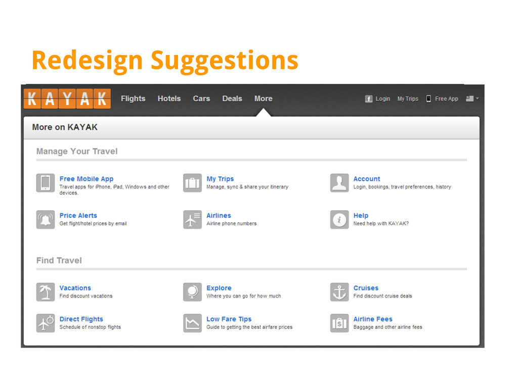 Redesign Suggestions Addition of drop-down menu...