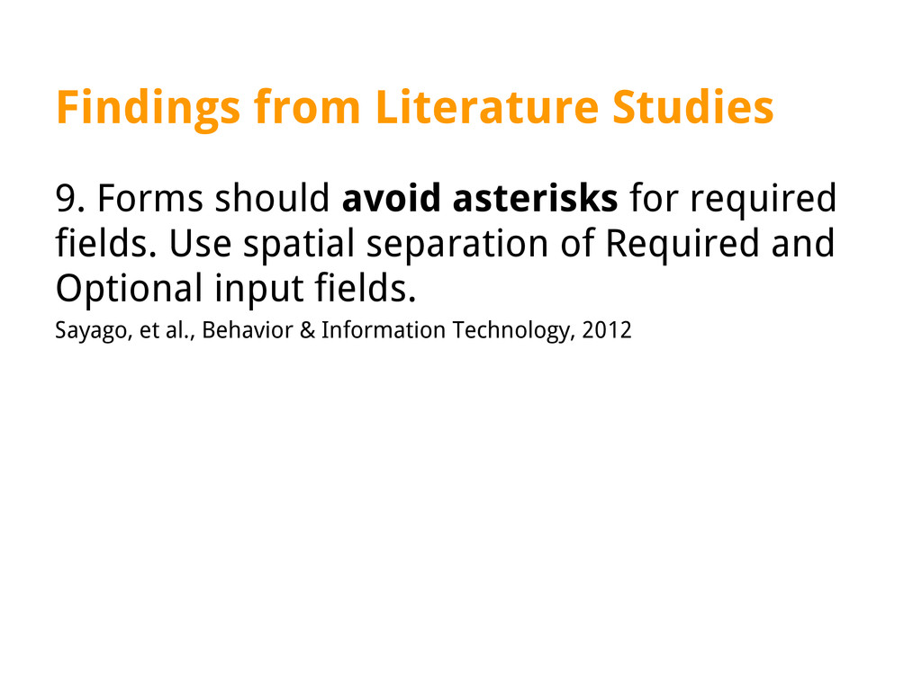 Findings from Literature Studies 9. Forms shoul...
