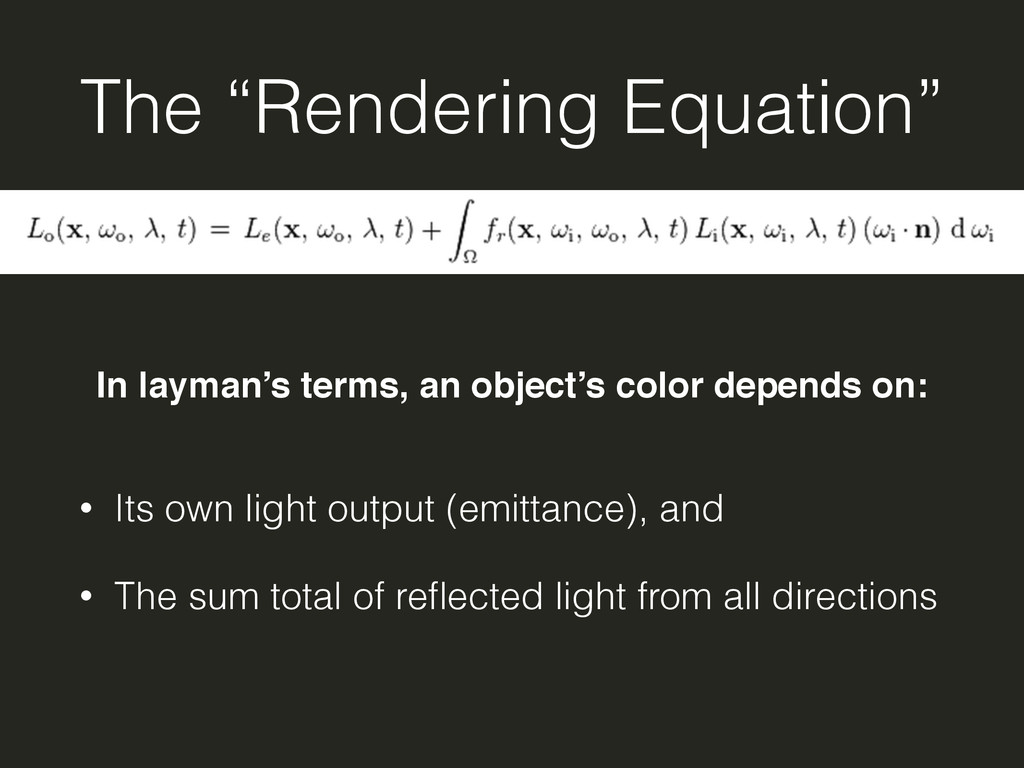 """The """"Rendering Equation"""" • Its own light output..."""