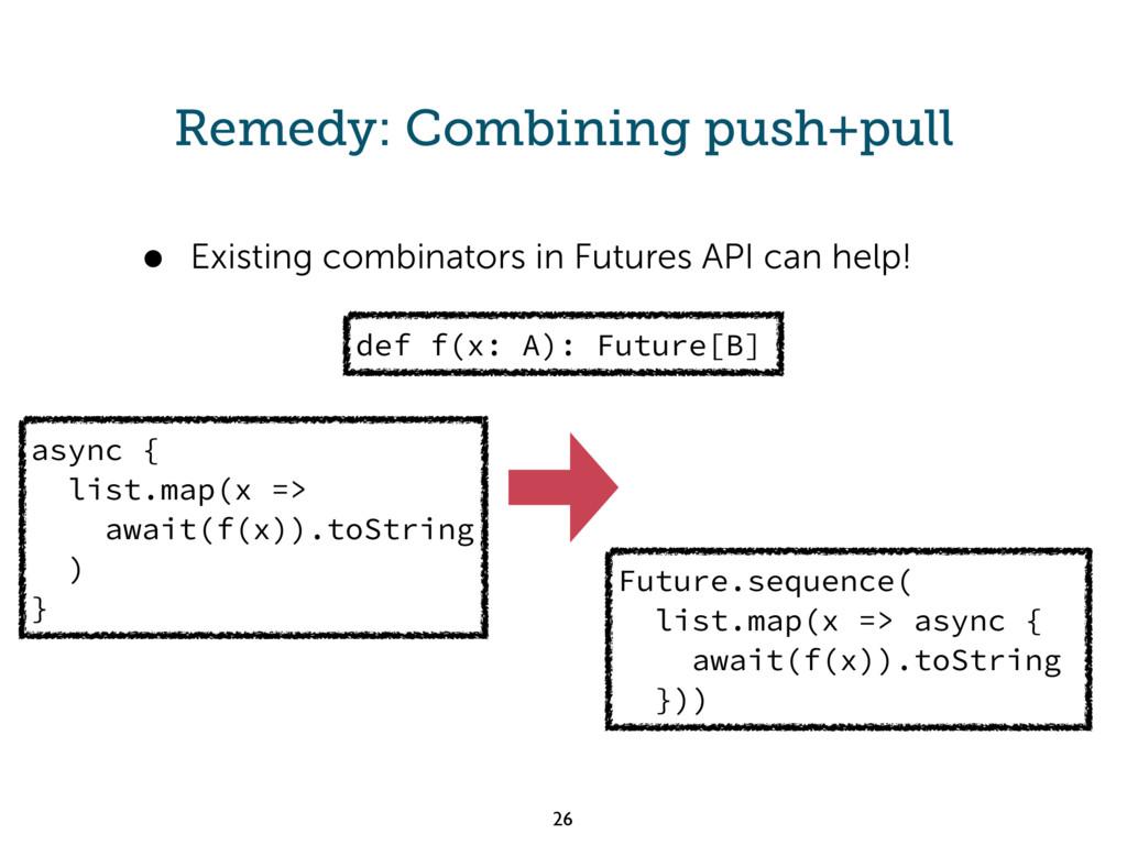 Remedy: Combining push+pull async { list.map(x ...