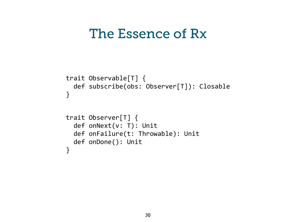 The Essence of Rx trait Observable[T] { def sub...