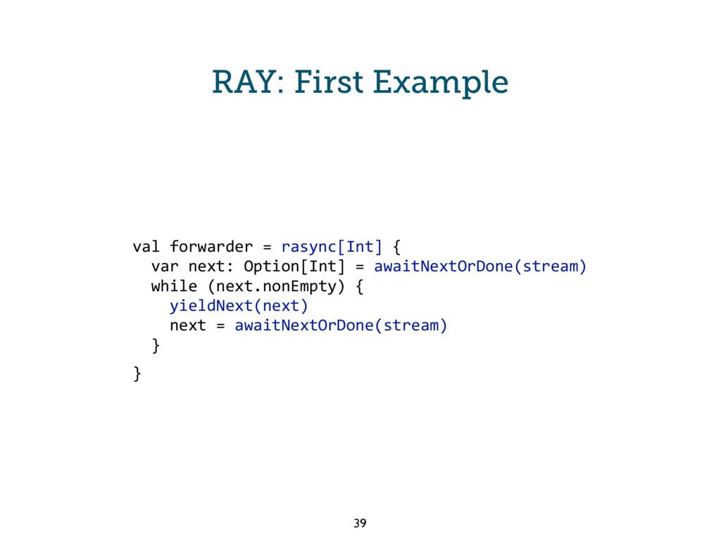 RAY: First Example val forwarder = rasync[Int] ...