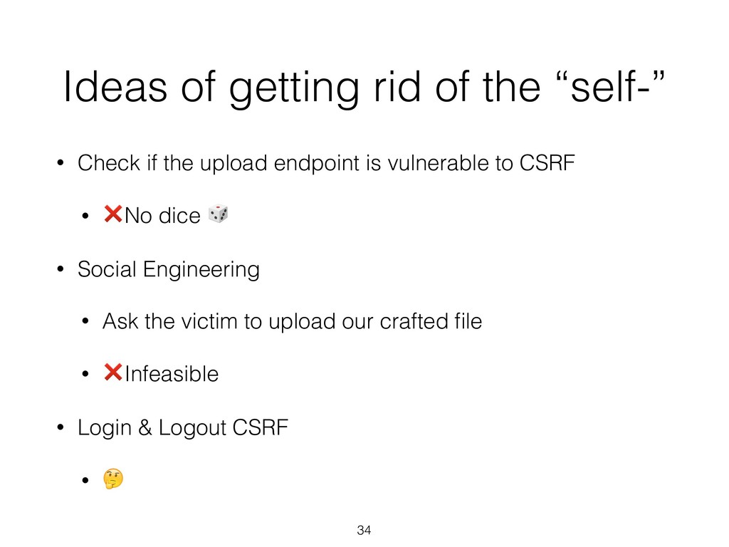 "Ideas of getting rid of the ""self-"" • Check if ..."