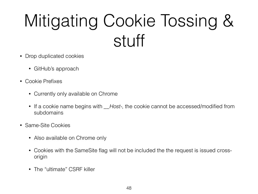 Mitigating Cookie Tossing & stuff • Drop duplic...