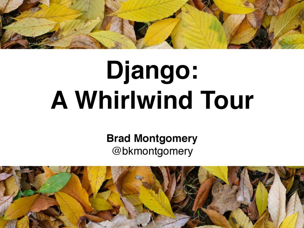 Django: A Whirlwind Tour Brad Montgomery @bkmon...