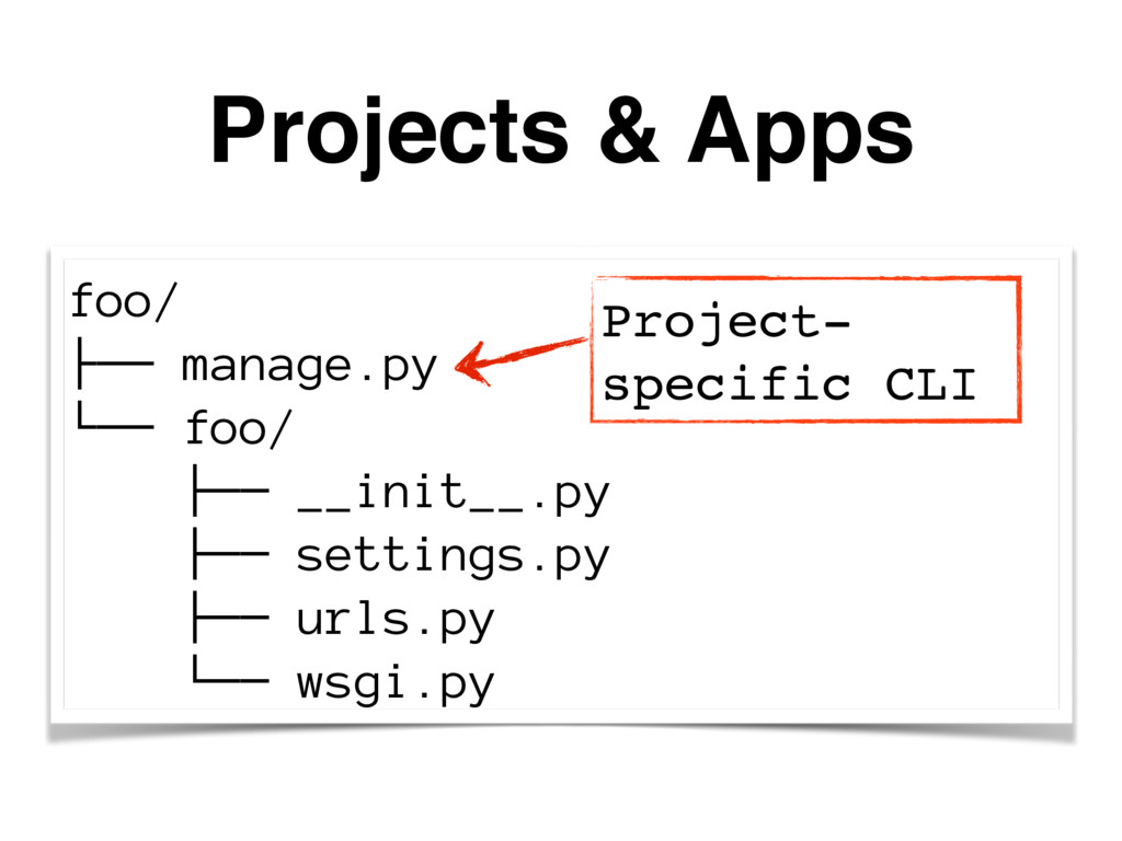 Projects & Apps foo/ ├── manage.py └── foo/ ├──...